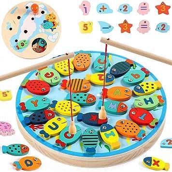 KwuLee Juego de Pesca 40Pcs Letras & Números Magnéticos de Madera Imanes Catching Fishs Juegos de Mesa Stem Learning Kit Educativo Regalos de Cumpleaños para Niños Pequeños: Amazon.es: Juguetes y juegos