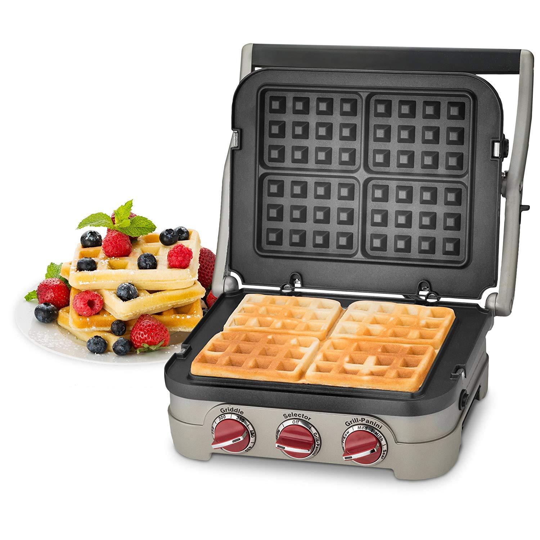 Kitchen Maestro Griddler Waffle Plates for Cuisinart Griddler Nonstick, Dishwasher Safe, Lock-In Place, Black, made for GR-4N and GRID-8N Series