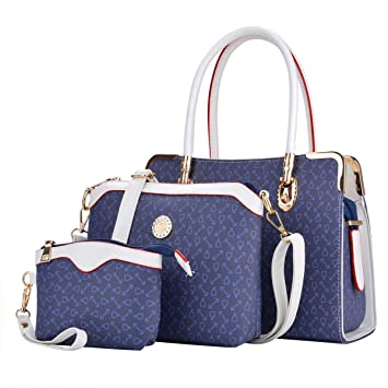 bee196c5b66bdb COOFIT Damen Leder Handtaschen Umhängetasche Schultertasche Schulter Hobo  Set (Leder Blau)