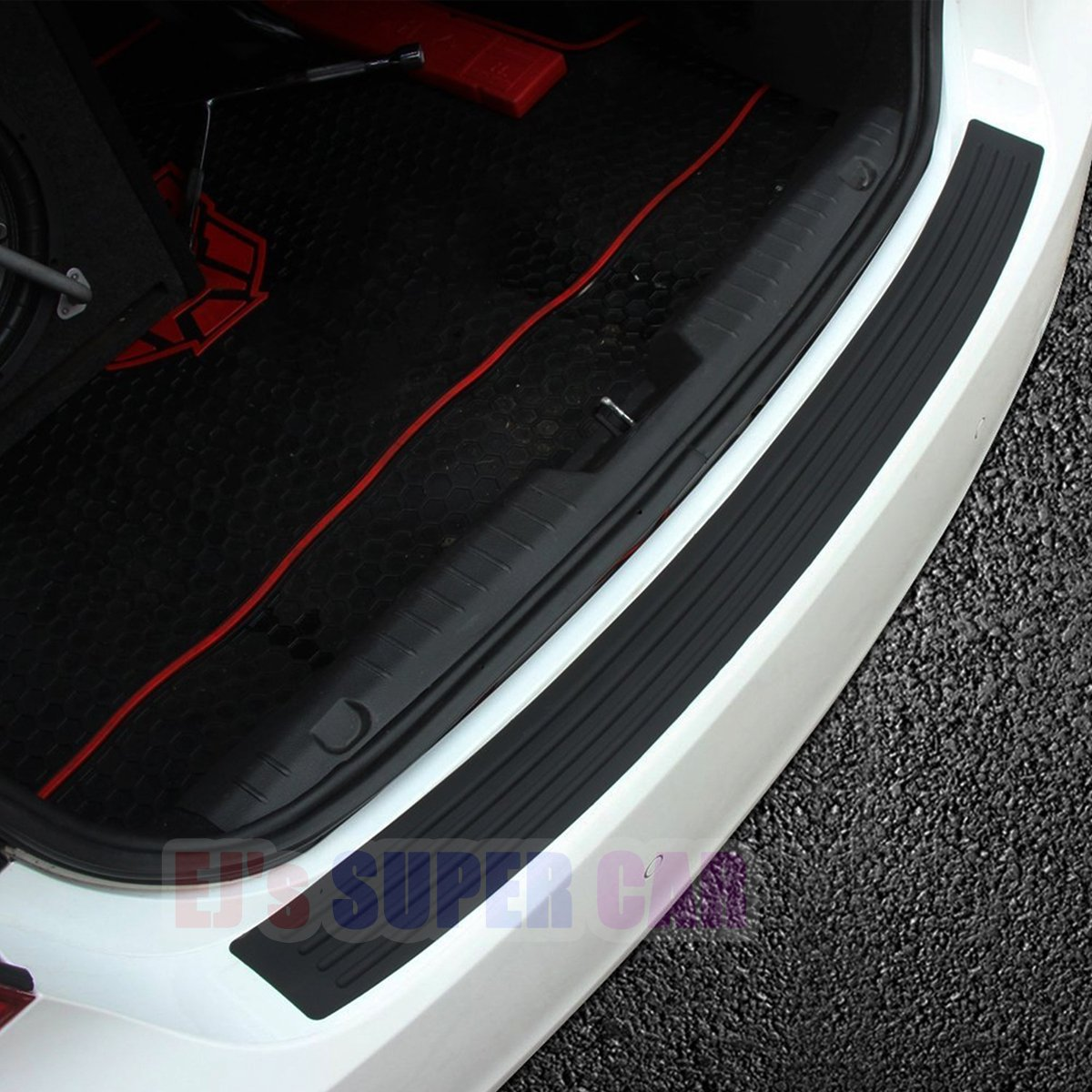 Ej super car rear bumper protector guard universal black rubber scratchresistant trunk door entry guards accessory trim cover for suv carseasy d i y