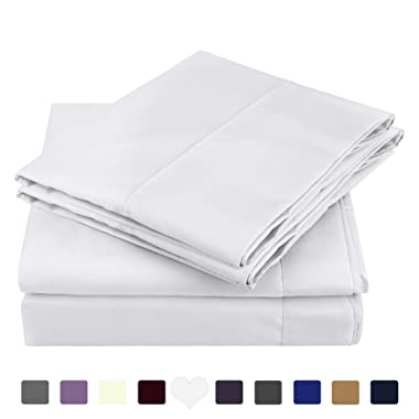 HOMEIDEAS 4 Piece Bed Sheets Set (Queen,White) Brushed Microfiber 1800 Bedding Sheets Deep Pockets,Wrinkle & Fade Resistant