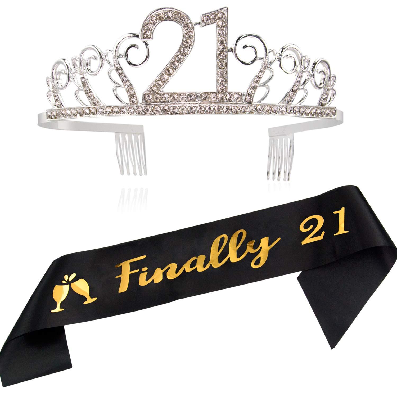 Amazon.com: Tiara y banda para 21 cumpleaños, por fin 21 ...