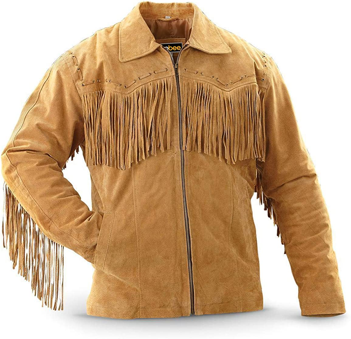 COCOBEE Mens Fringes Western Suede Leather Jacket Fashion Leather Jacket Slimfit Biker Jacket
