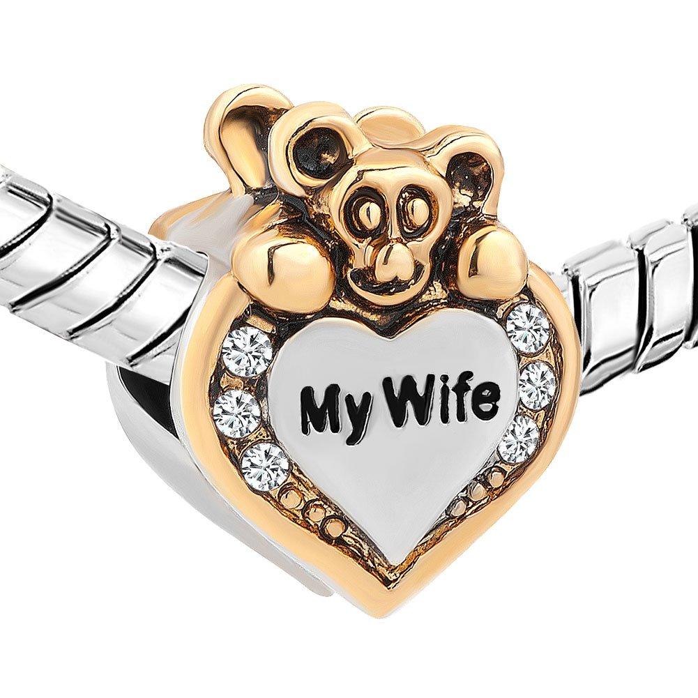 Uniqueen Breloque ours mignon avec inscription /« I Love You /» et strass pour bracelet /à breloques Chamilia