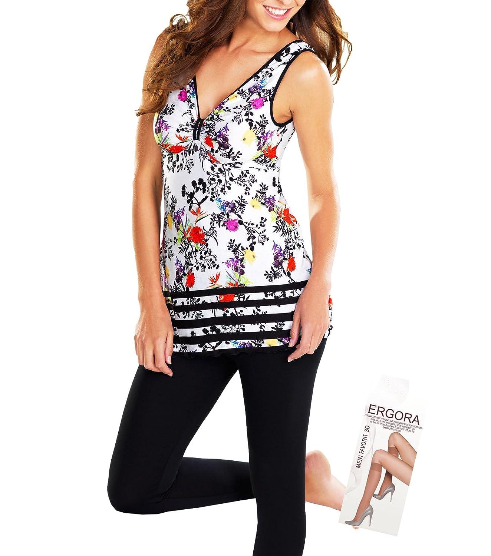 Cybele Damen Freizeitmode Leggings + Träger Shirt in Schwarz Weiss Bunt 6 Gr. 36 bis 46 Homewear Single-Jersey + 1 Paar Feinkniestrümpfe