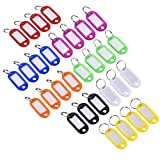 Mudder 30 Pieces Multi-colors Plastic Key Tags ID Fobs Luggage ID Labels with Split Ring Keyring