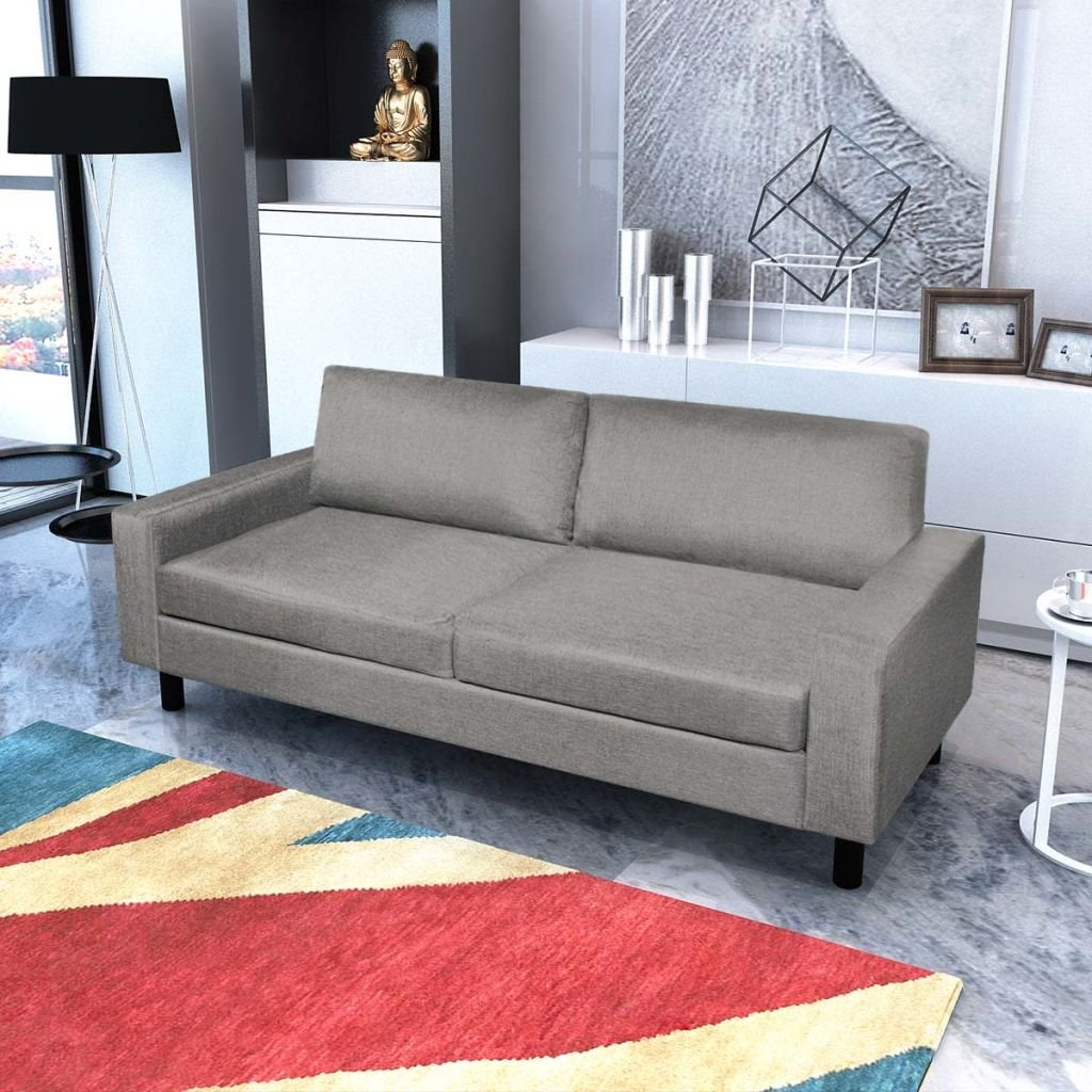 Amazon.com: 3-Seater Home Furniture Dining Room Sofa Set Light Gray ...
