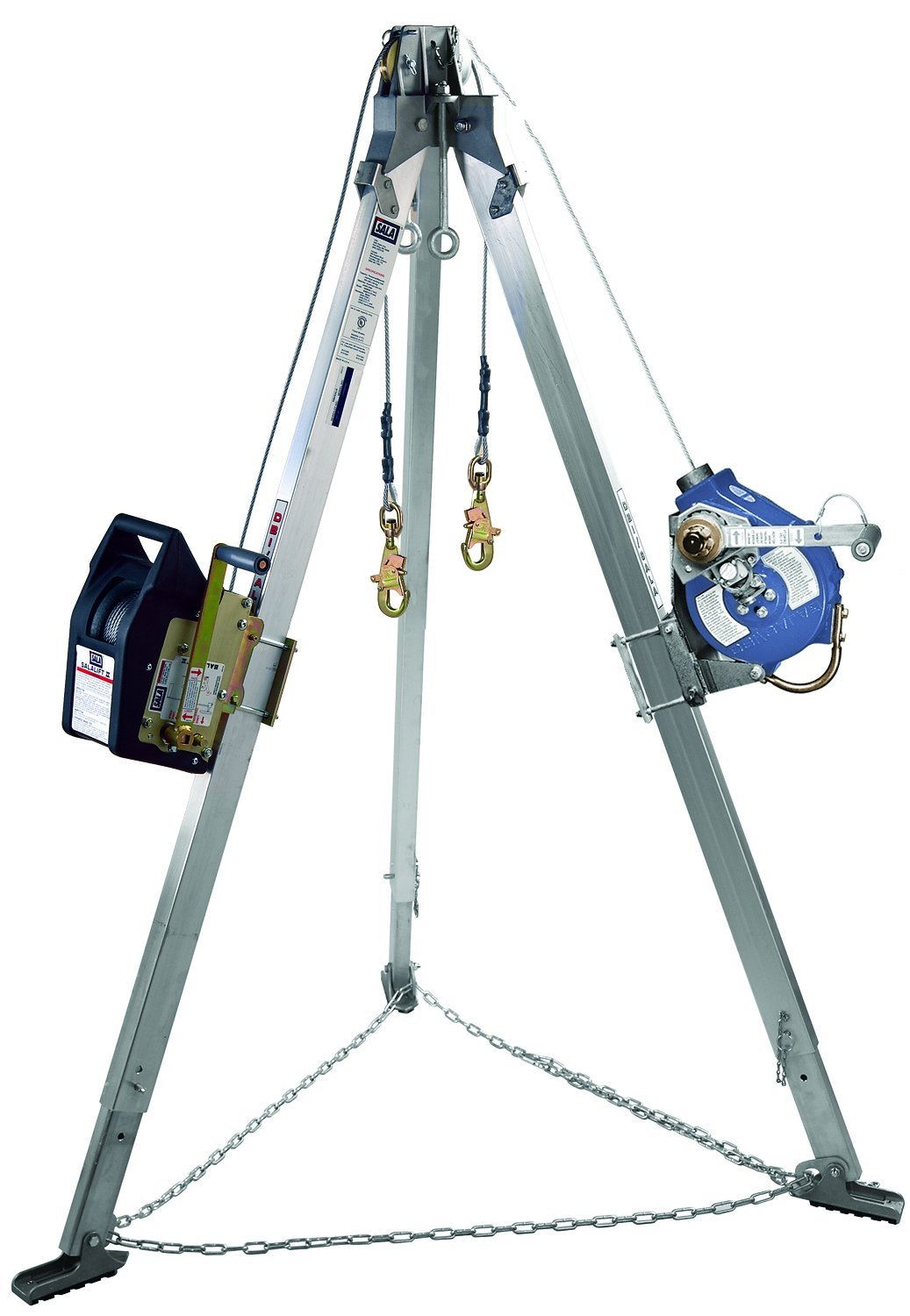 3M DBI-SALA Advanced 8304011 Confined Space Kit Tripod Winch and Sealed 3-Way SRL with Stainless Cable Mounting Brackets Carrying Bags and Leg Mount Pulley