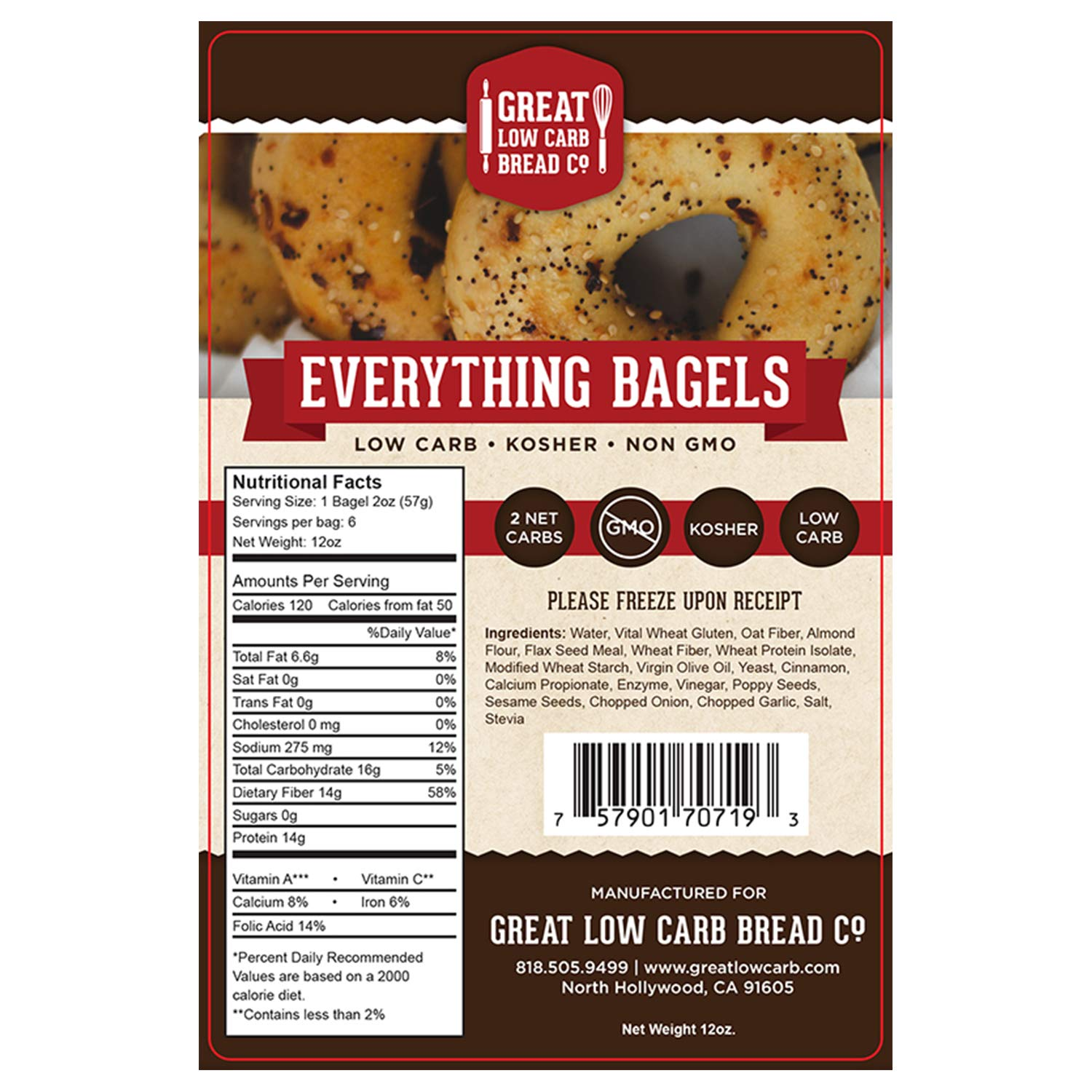 Great Low Carb Everything Bagels 2 Bags by Great Low Carb Bread Company (Image #5)