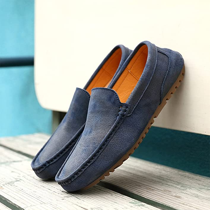 Men's Flexibility Pigskin Leather Shoes Slip-on Wear-Resistance Rubber Outsole Casual Driver Shoes