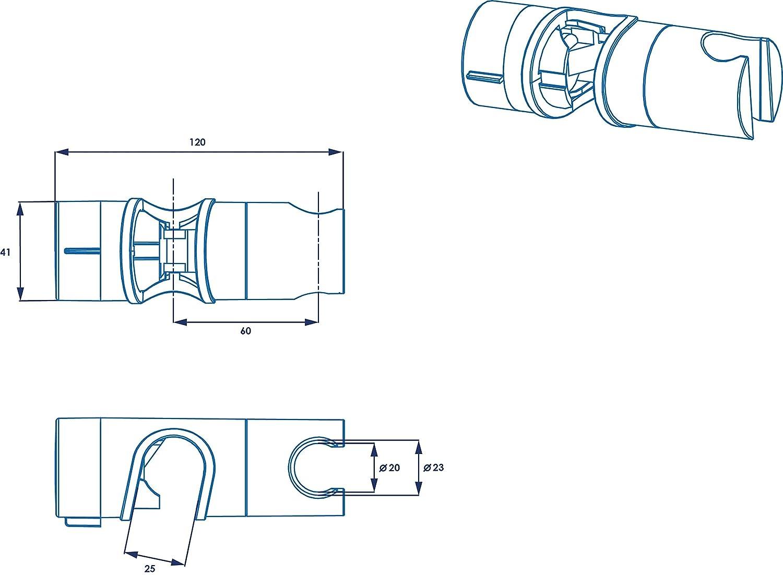 Croydex Universal Riser Rail Slider Chrome