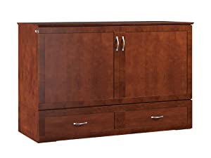 Atlantic Furniture Hamilton Murphy Bed Chest with Charging Station & Mattress, Queen, Walnut