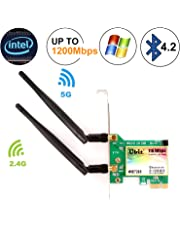 Ubit AC 1200Mbps Bluetooth WiFi Card,Wireless WiFi PCIe Network Adapter Card 5GHz/2.4GHz Dual Band PCI Express Network Card with Bluetooth 4.2 and 2×Antenna for Desktop/PC Gaming(WIE7265)