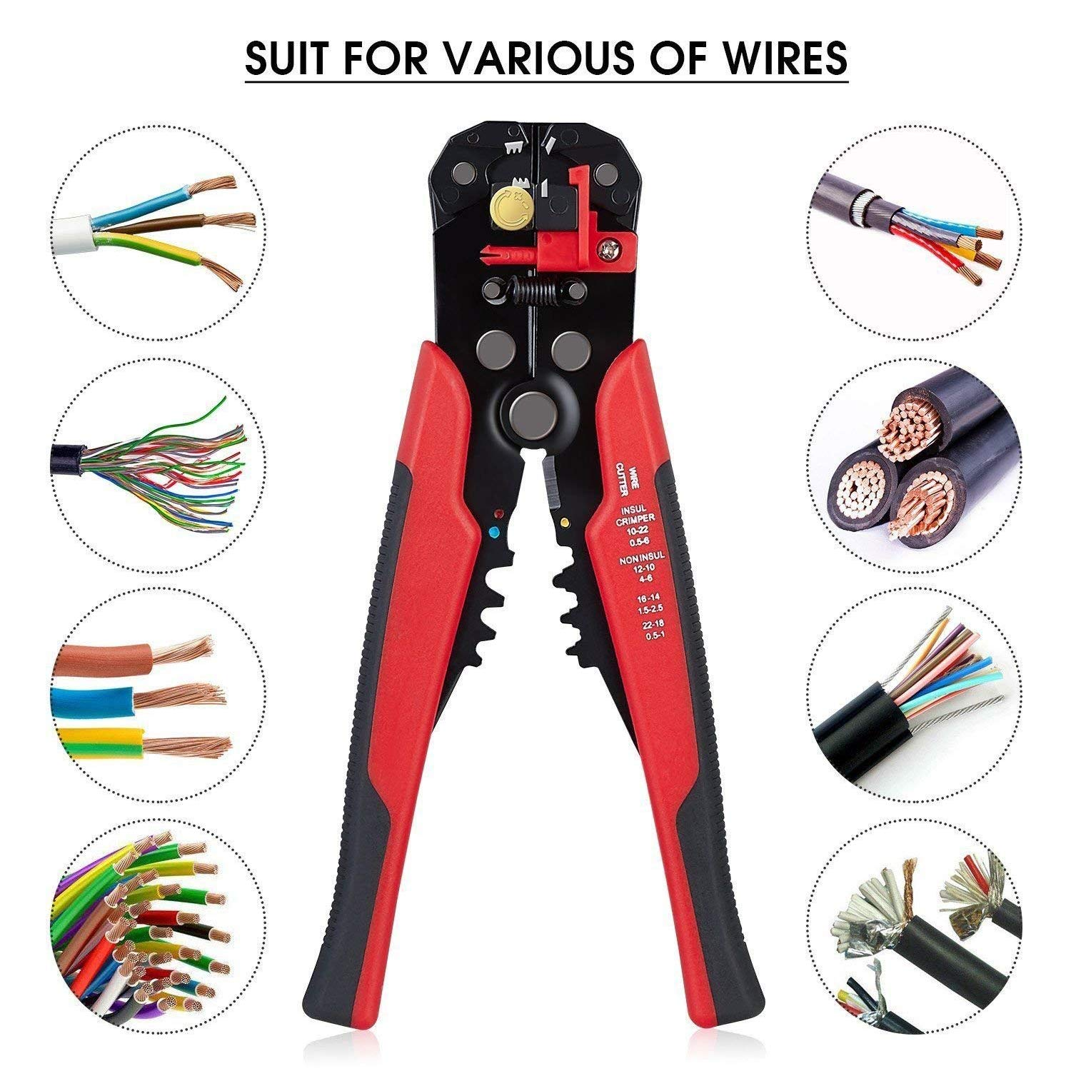 3 in 1 Wire Strippers - 8 inch Self-adjusting Cable Cutter Crimper,Automatic Wire Stripping Tool,10-24 AWG (0.2~6.0mm²) Quickly Pliers,Professional Heavy Duty Industrial Tools(Red)