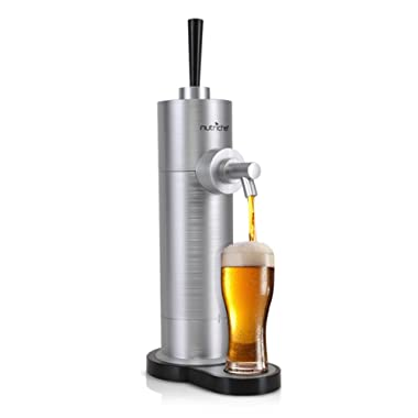 Portable Beer Dispenser - Draft Beer Tap Dispensing Equipment  For All Beer Cans Up To 16.5 Oz - Battery Powered System, Stainless Steel Design for Countertop, Party, Bar - NutriChef PKBRFMSR22