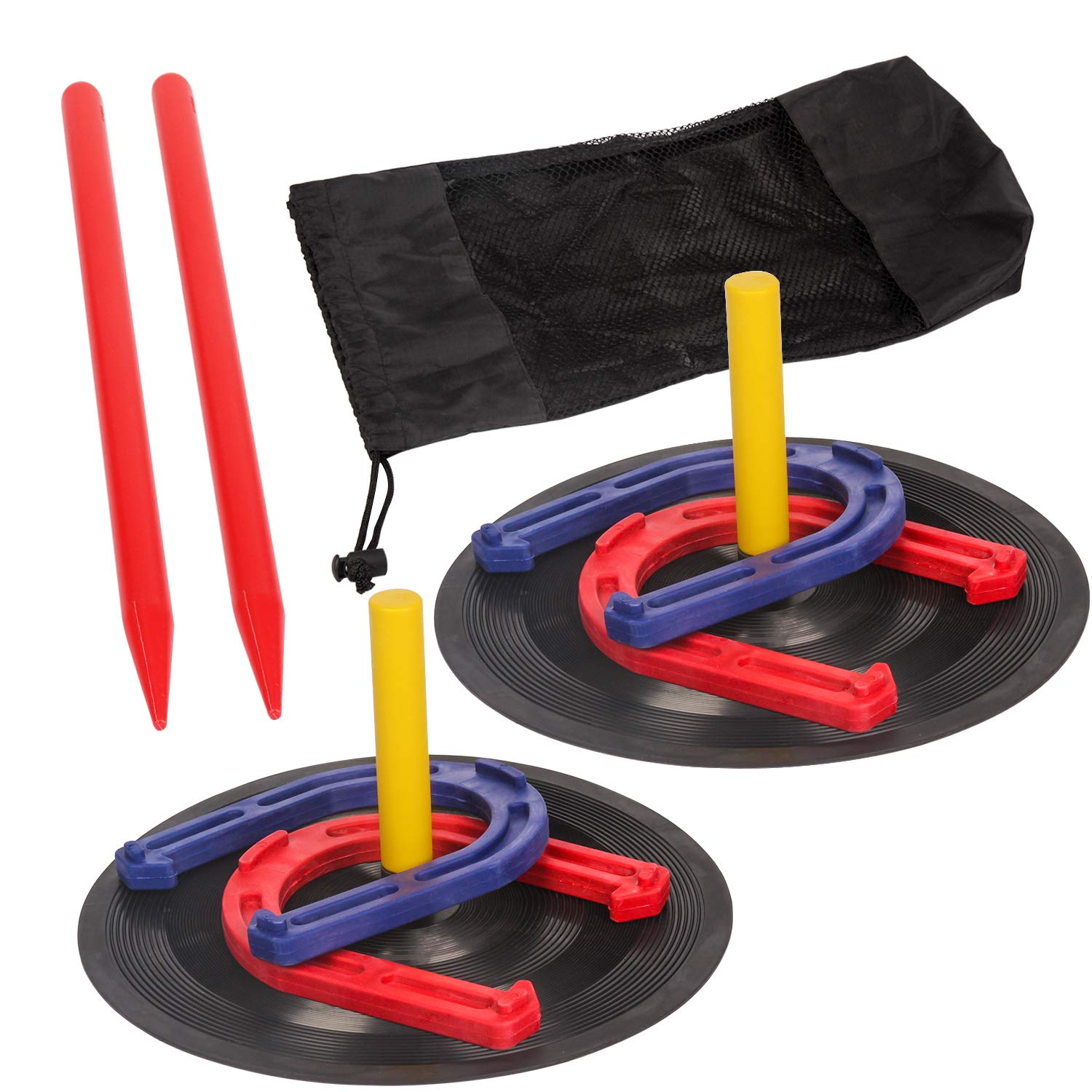 TOYSHARING Horseshoes Game Safety Rubber Horseshoe Set Durable Light Weight Horse Shoes Toss Game Toy for Kids Camping Yard Lawn Outdoor Sports