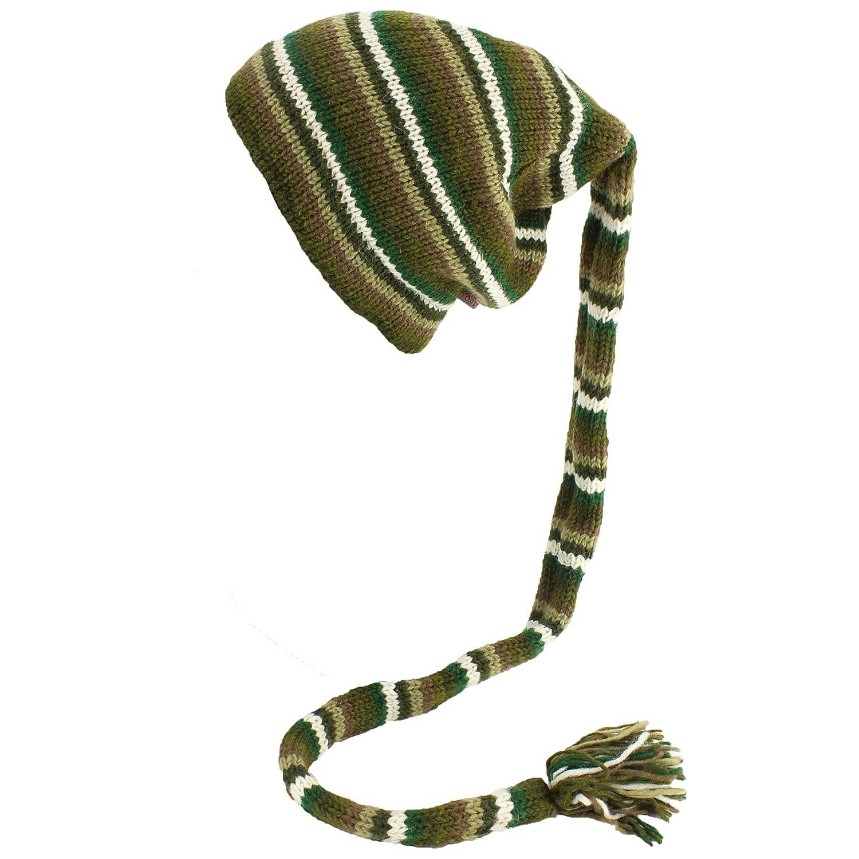 9acf6f8e8fe Loud Hats Wool Knit Tail HAT Hippy Festival Fleece Lined Beanie Green  Stripes  Amazon.co.uk  Clothing