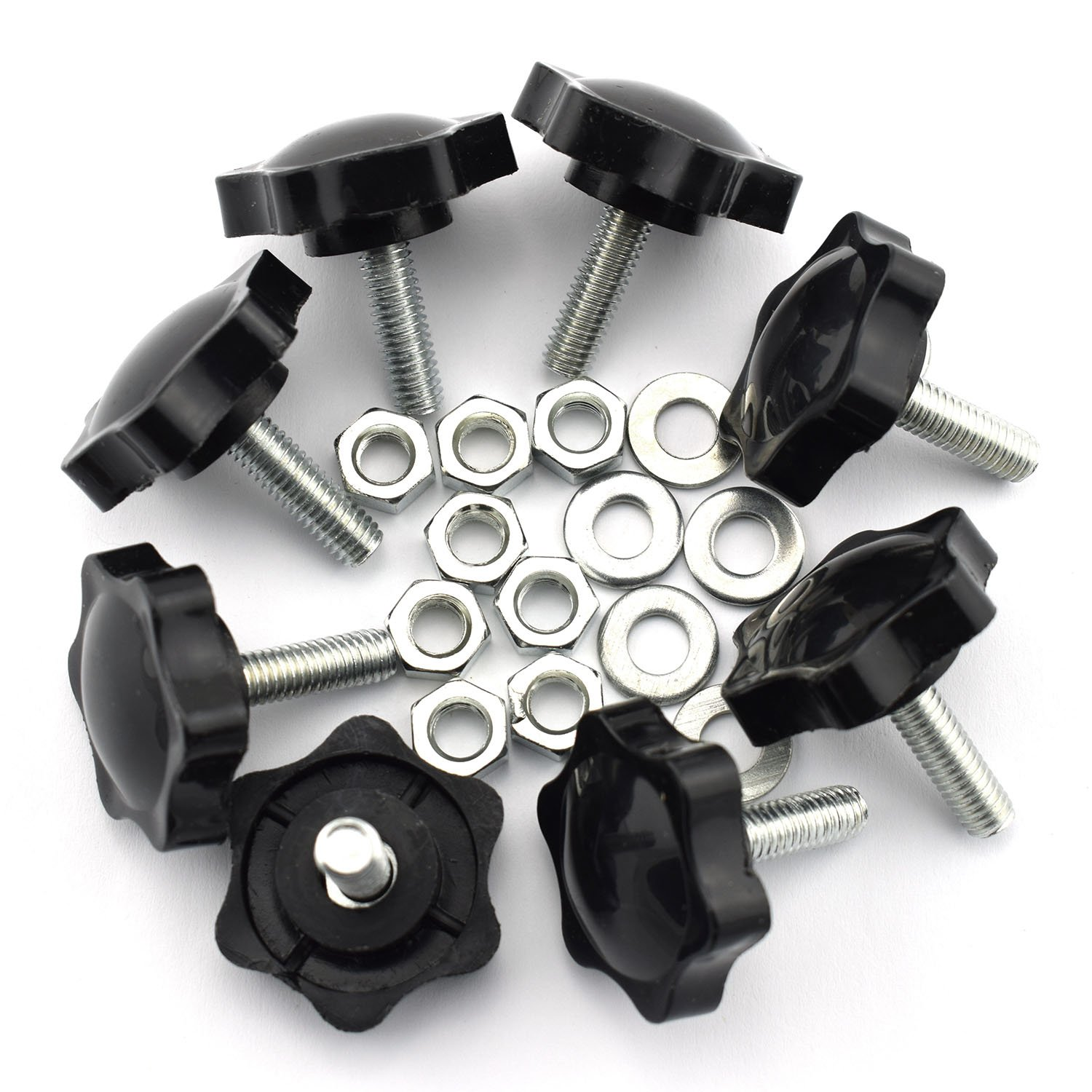 8 Set M620 Thumb Screw Plastic Plum Blossom Shape Head Threaded Knurled Grip Knobs Clamping Screw with Nut Washer Pro Bamboo Kitchen