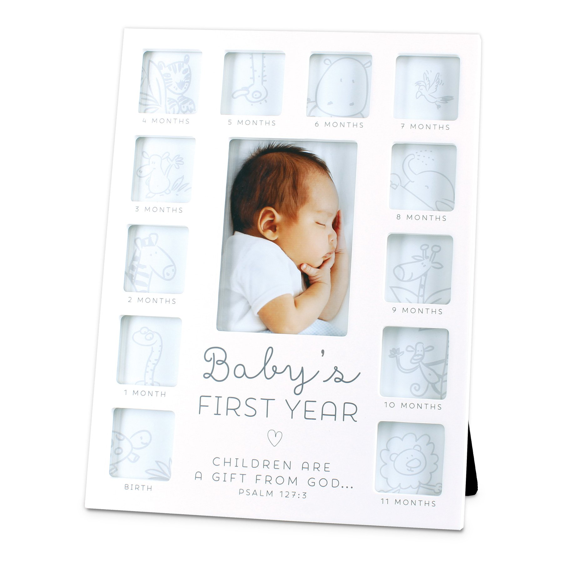 Lighthouse Christian Products Baby's First Year 13 Photo Collage Frame, White