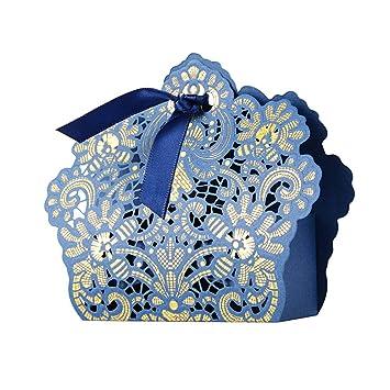 50pcs Cajas Cajitas Papel de Caramelos Bombones Dulces Galletas Regalos Recuerdos Detalles para Invitados de Boda Fiesta Bautizo Cumpleaños (Azul)