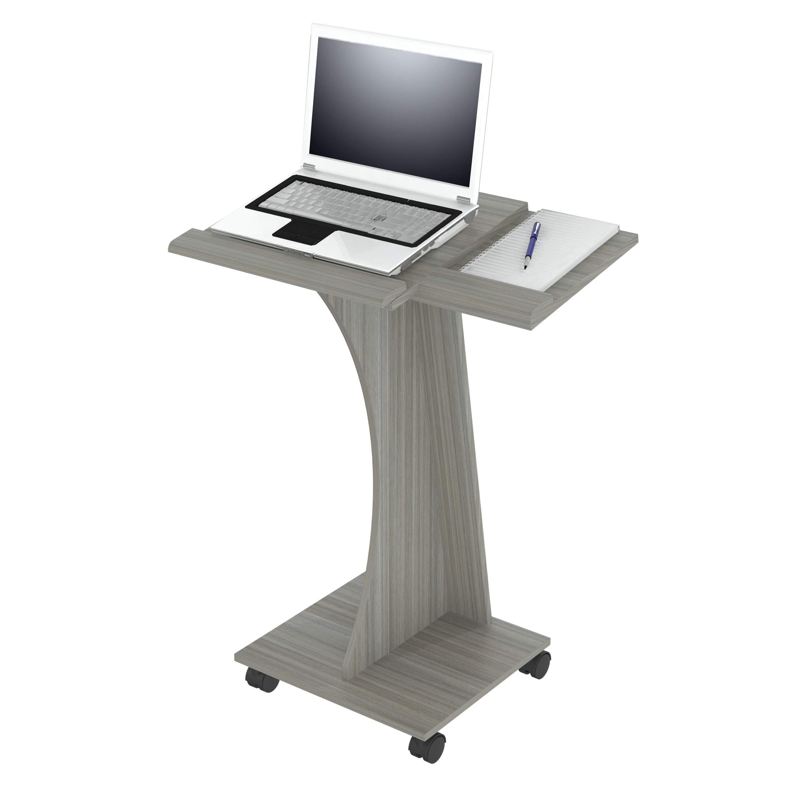 Inval MLP-5220 Rolling Laptop Cart, Smoke Oak