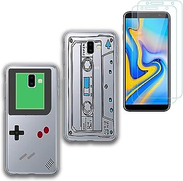 jrester 2 X Funda Samsung Galaxy J6 Plus,Videoconsola + Cinta de Cassette Suavee Silicona Smartphone Cascara Protectora para Samsung Galaxy J6 Plus (6,0