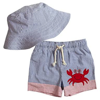 3fe362363e84 Amazon.com: Good Lad Infant and Toddler Boys Seersucker Swimwear with  Applique and Matching Seersucker Hat: Clothing