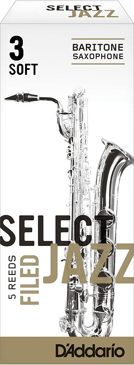 Rico Select Jazz Baritone Sax Reeds, Filed, Strength 4 Strength Soft, 5-pack D'Addario &Co. Inc RSF05BSX4S
