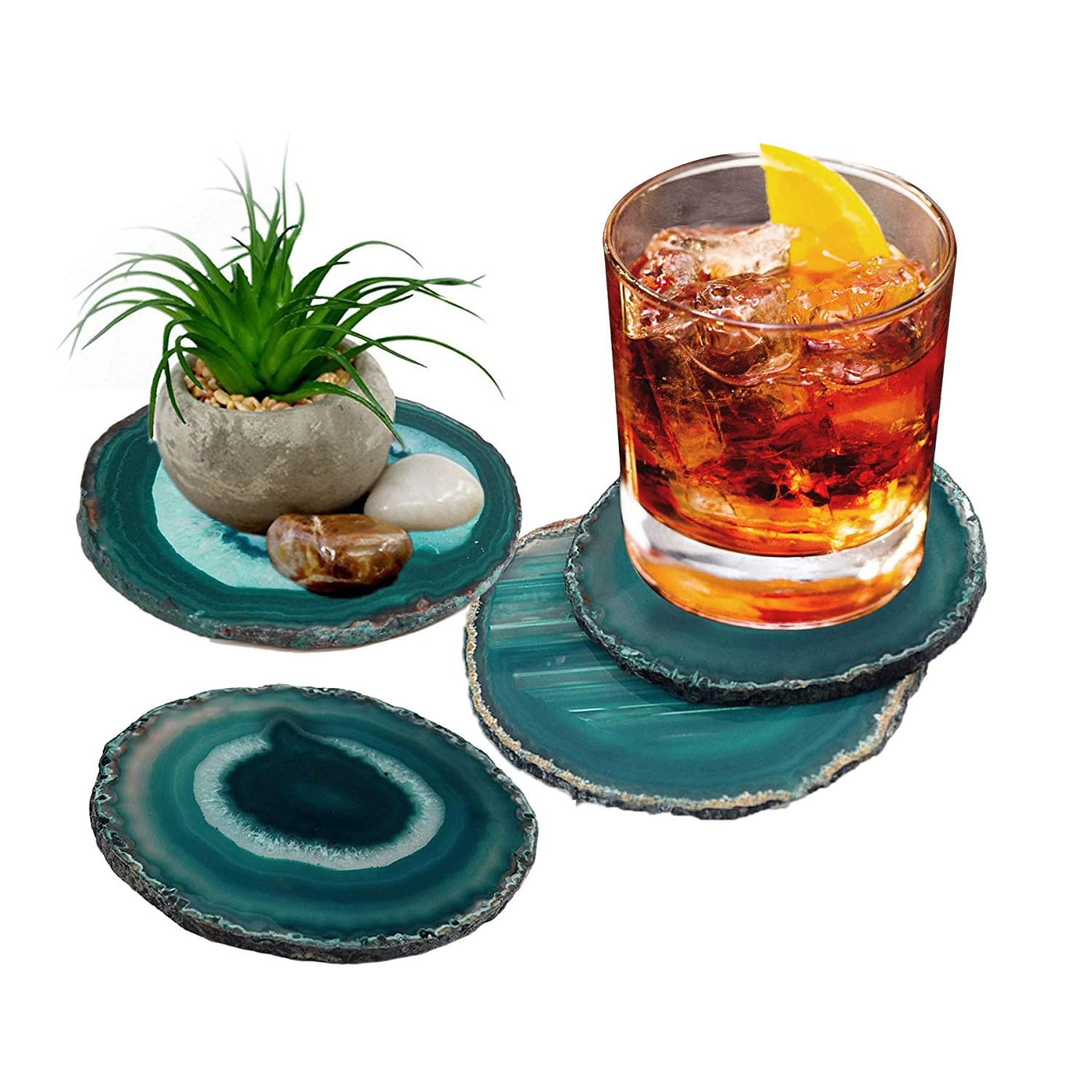 "AMOYSTONE Agate Coaster Teal 3-3.5"" Dyed Sliced Agate Drinks Cup Mat Set of 4 Small with Rubber Bumpers"