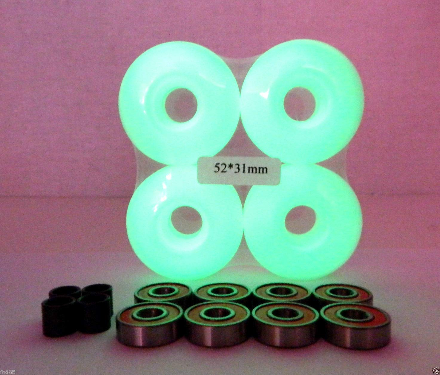 Glow in Dark Blank Pro Skateboard 52Mm Color Wheels + ABEC 7 Color Bearings + Spacers