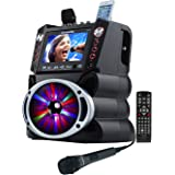 "Complete Karaoke System with 2 Microphones, Remote Control, 7"" Color Display, LED Lights - Works with DVD, Bluetooth, CD, MP3 and All Devices - Karaoke USA Model GF845"