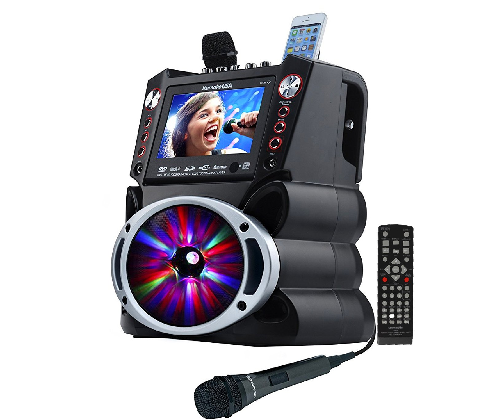 """Complete Karaoke System with 2 Microphones, Remote Control, 7"""" Color Display, LED Lights - Works with DVD, Bluetooth, CD, MP3 and All Devices - Karaoke USA Model GF845 by Karaoke USA"""