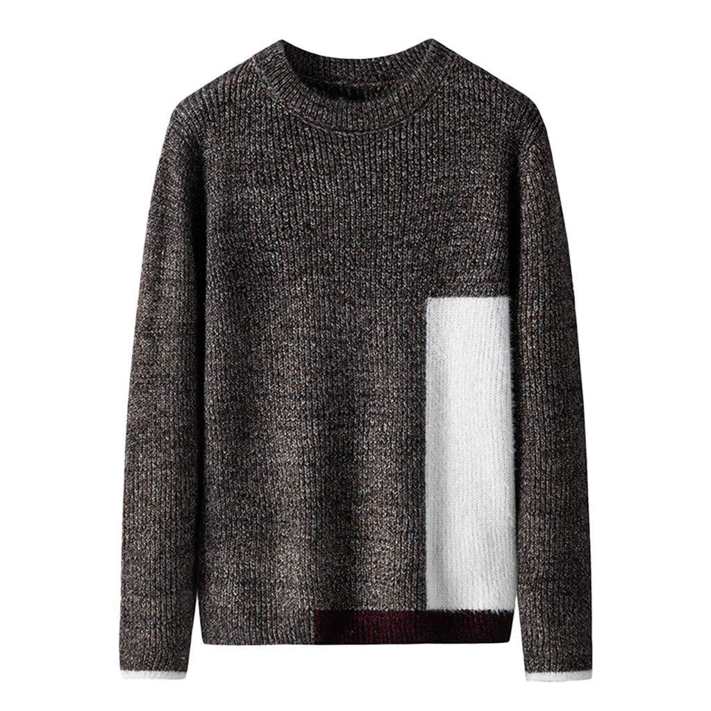 wuliLINL Men's Turtleneck Long Sleeve Chunky Knit Pullover Sweater Tops(Coffee,L) by wuliLINL