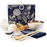 Matcha - Juego de batidor de té matcha de bambú para té auténtico Matcha, batidor y tazón tradicional (9 piezas)