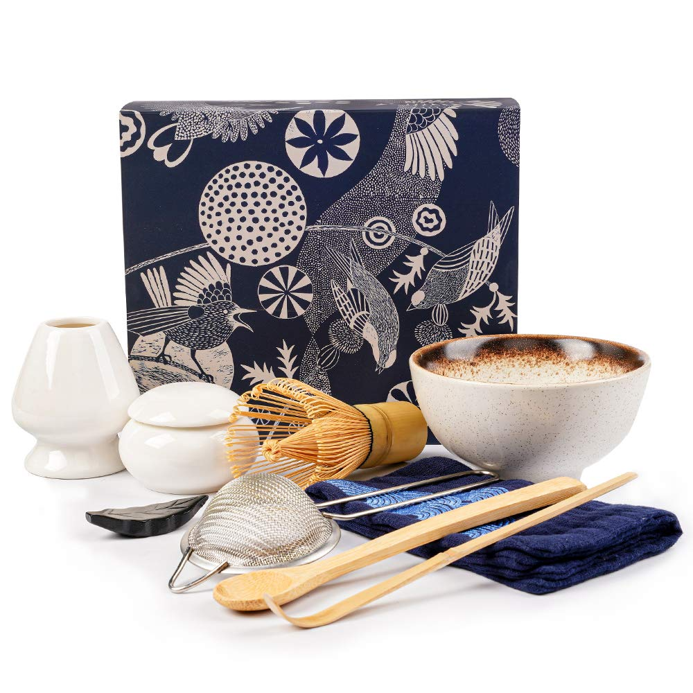 Matcha Set, Bamboo Matcha Whisk for Tea Authentic Matcha Kit for Matcha Tea, Traditional Matcha Whisk and Bowl Set (9 Pcs)