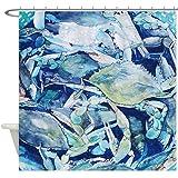 CafePress - Blue Crab Bounty Shower Curtain - Decorative Fabric Shower Curtain