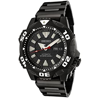 Amazon.com: Seiko Mens SKZ285 Automatic Black Dial Black ...