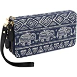 Bohemian Purse Wallet Canvas Elephant Pattern Handbag with Coin Pocket and Strap (Large Elephant)
