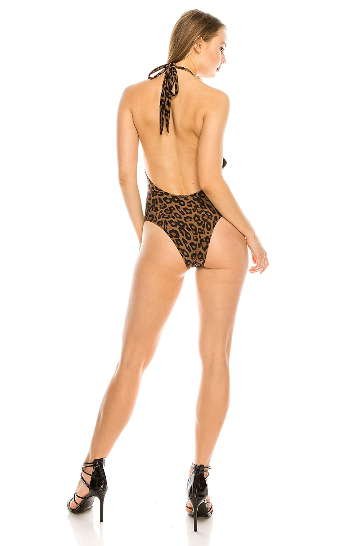 Leopard, M KENDALL KYLIE Halter Sash 1Piece Swimsuit