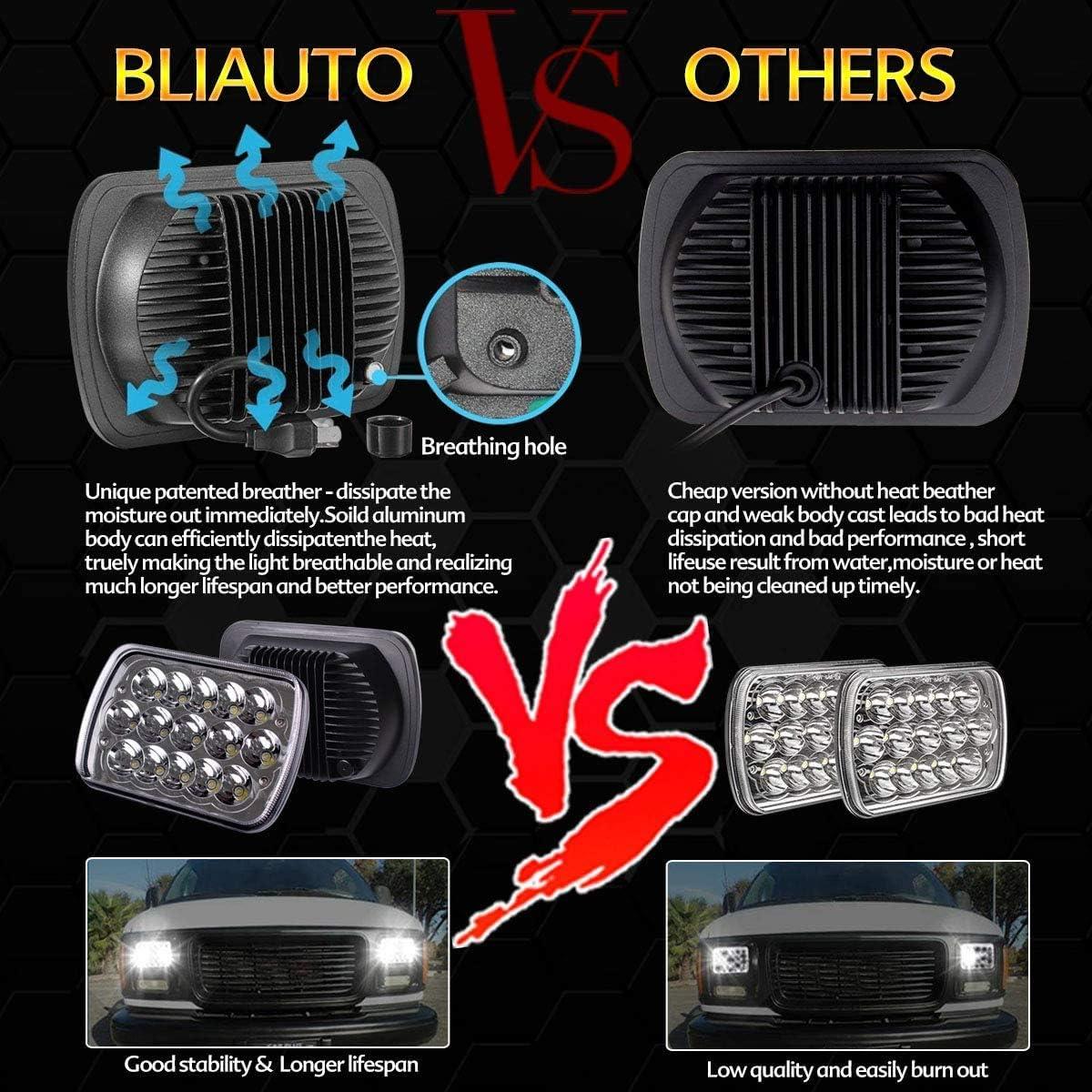 5x7 7x6 LED Headlamp H4 9003 Plug 6054 H5054 Hi//Low Sealed Beam for Blazer Express Van//Jeep Wrangler YJ XJ Truck Ford Van BLIAUTO H6054 LED Headlights