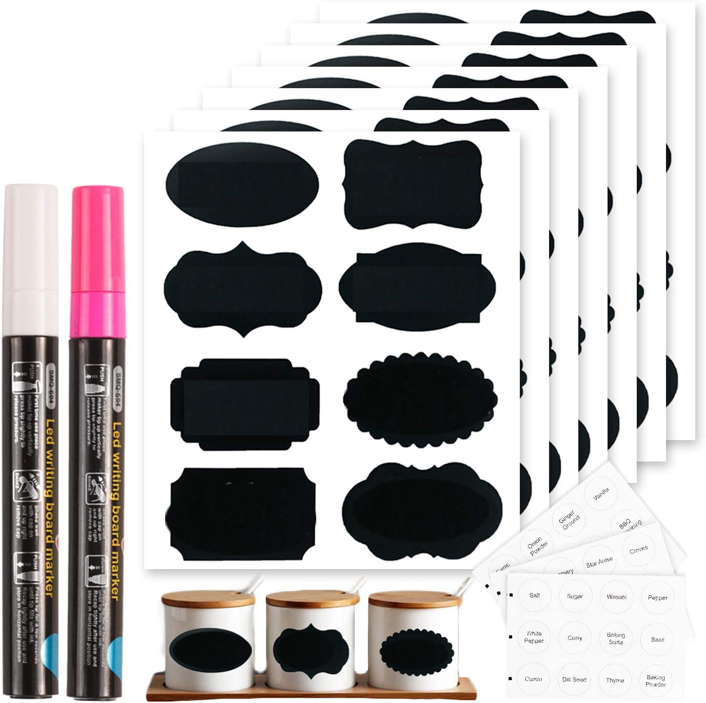 Chalkboard Labels Set, Tebik 289 Pack Large Medium and Small Chalkboard Stickers, Chalk Markers & Spice Labels Reusable for Home Office School Bars Shops Pantry Storage Jars Glass Bottles Crafts