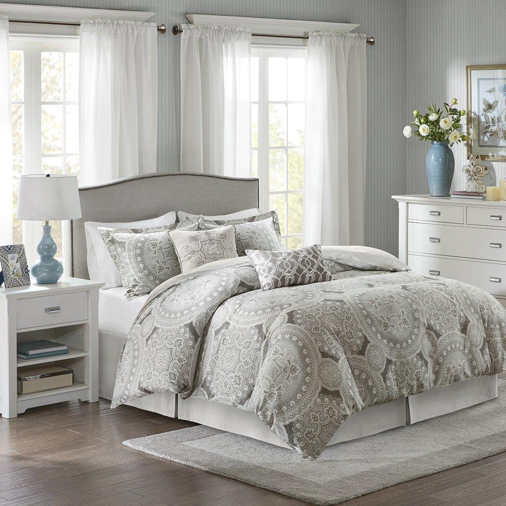 Freida Cotton Sateen 6 Piece Comforter Set California King グレー B073VL6PR3 California King|グレー グレー California King