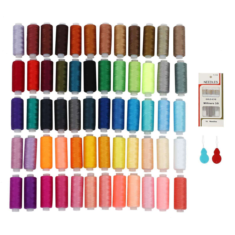Kit Cucito SOLEDI Fili Cucito 60 Colori con 16 Aghi e 2 Infila Aghi per Cucire a Macchina e Cucire a Mano Usato per Vestiti da Cucire - Quilting - Ricamo - Cucito SOLEDì
