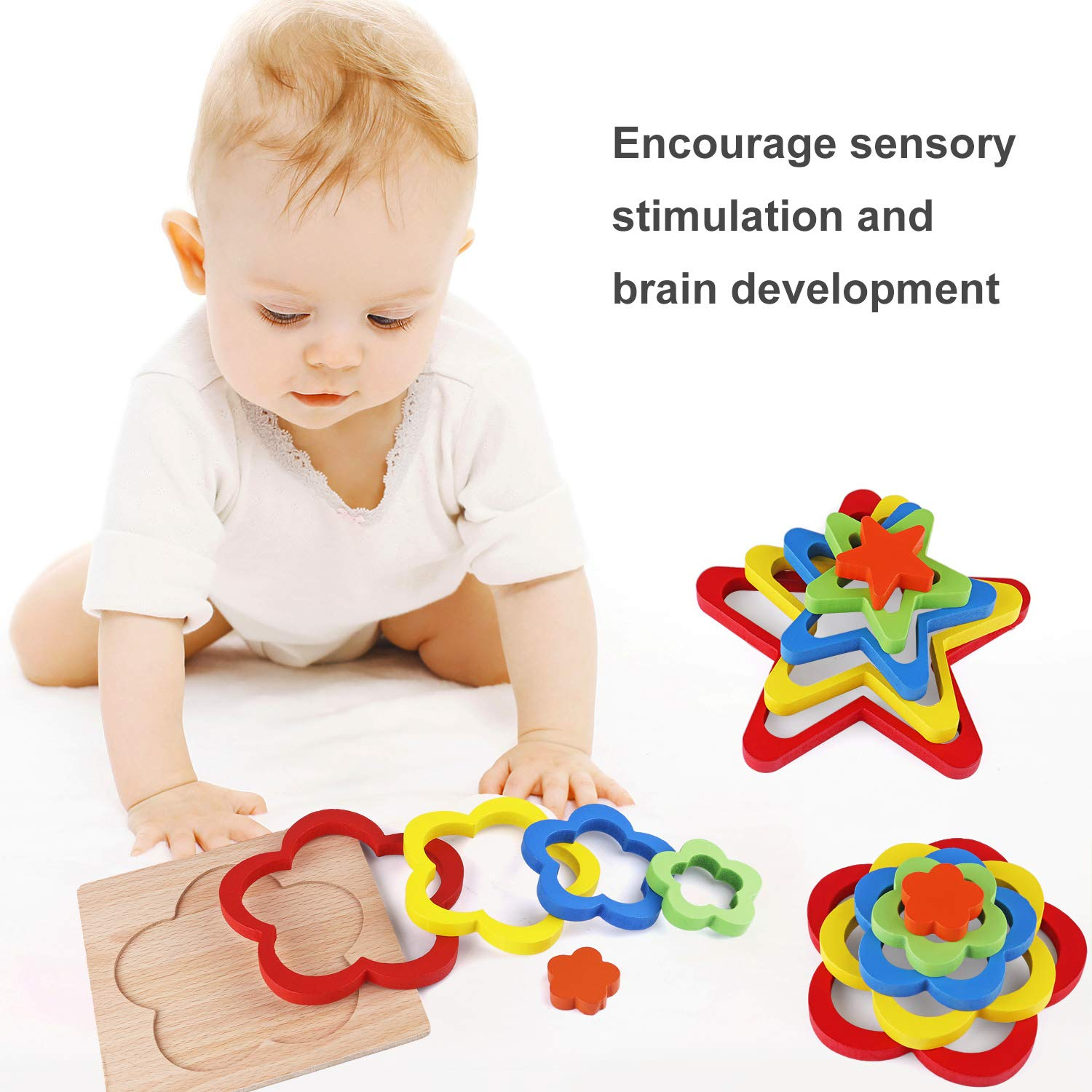 Tinabless Wooden Jigsaw Puzzles for Toddlers Wooden Stacking Game Learning Toy Geometry Building Blocks Educational Toys for Kids Baby Toddlers