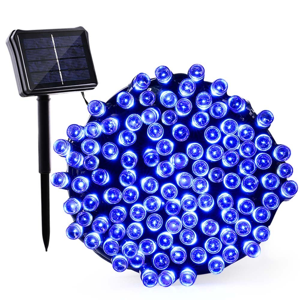 Qedertek Solar & Battery String Lights, 72ft 200 LED Dual Power Seasonal Decorative Fairy String Lights for Home, Garden, Patio, Holiday, Wedding and Party Decorations(Blue)