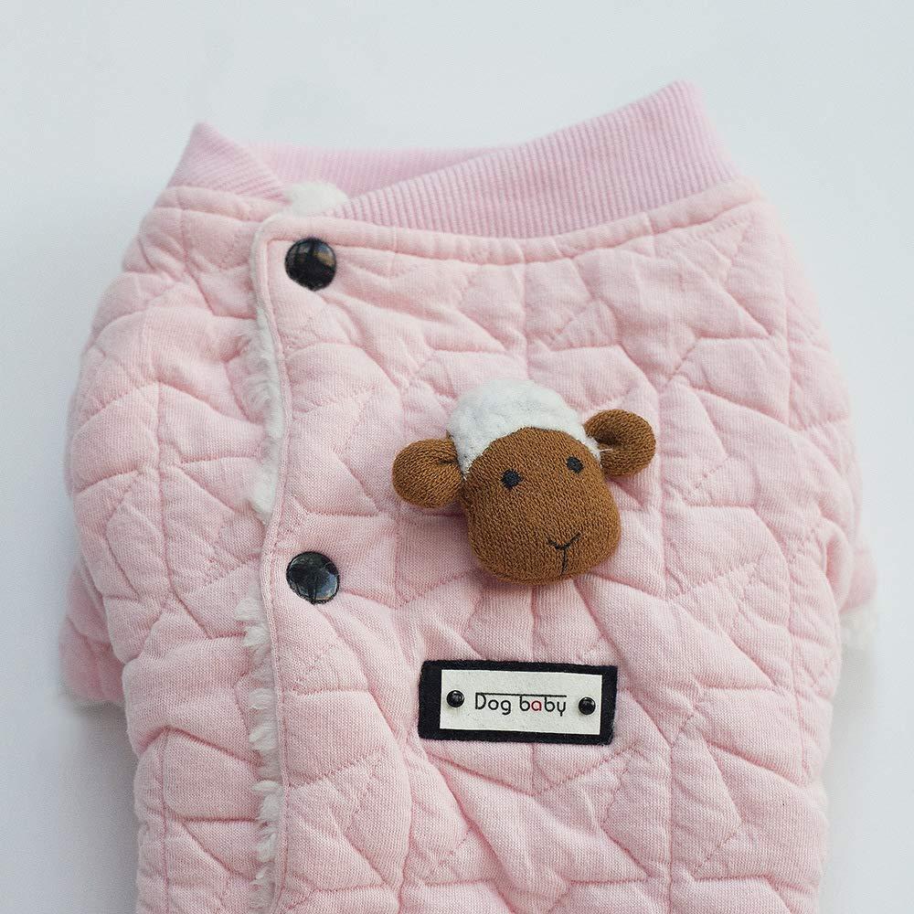 Ferza PetSuppliesMisc Abbigliamento per Cani Pet Abbigliamento da Compagnia Autunno e Inverno Nuovo Cappotto di Cotone a Quattro Zampe 27 Pecore (Colore   rosa, Dimensione   M)