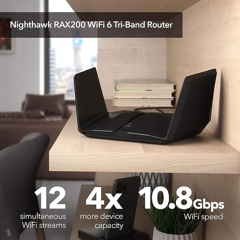 NETGEAR Nighthawk 12-Stream AX12 Wifi 6 Router (RAX200) - AX11000 Tri-Band Wireless Speed