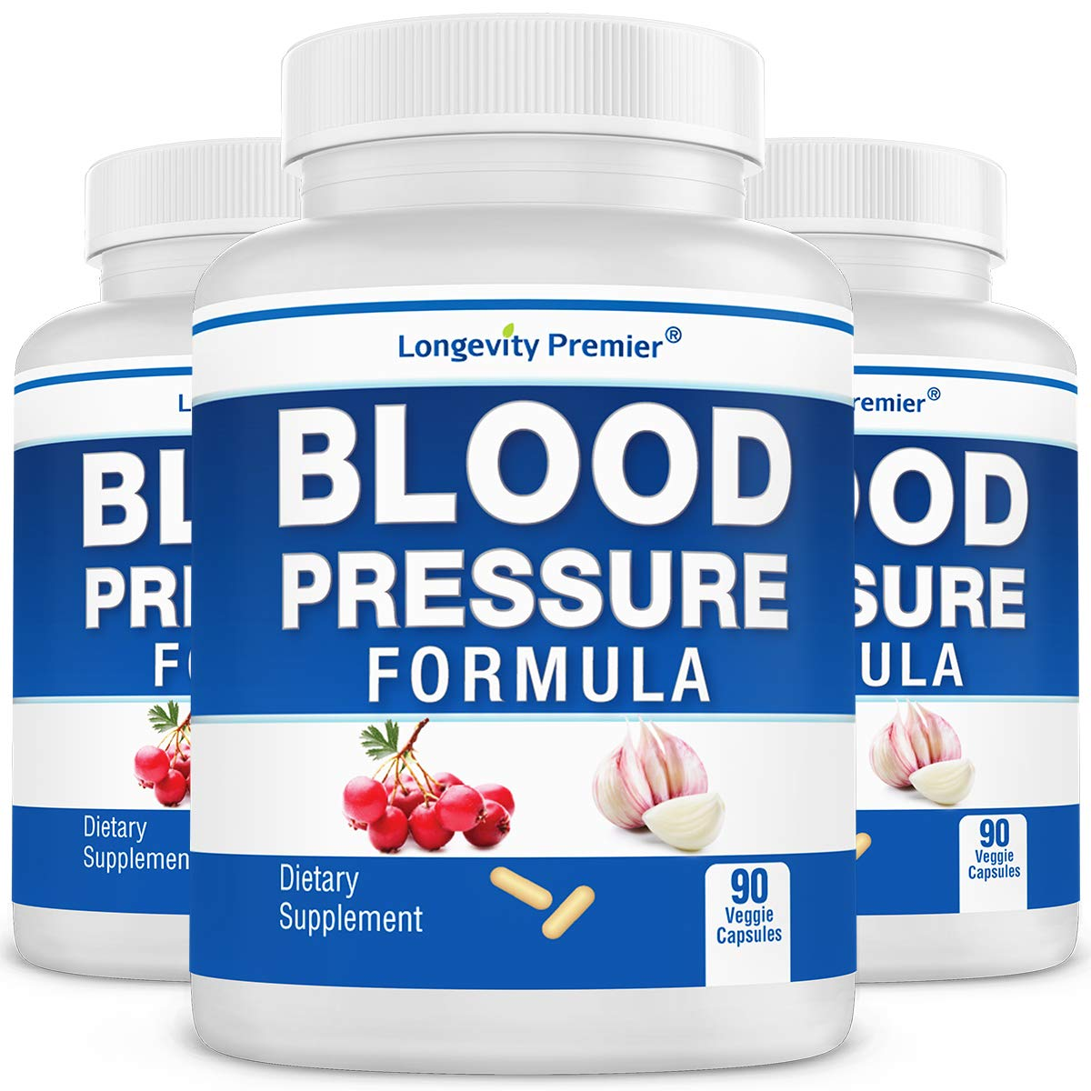 3-Bottle Value Pack Longevity Blood Pressure Formula -Scientifically formulated with Hawthorn 12 top Quality All Natural Herbs