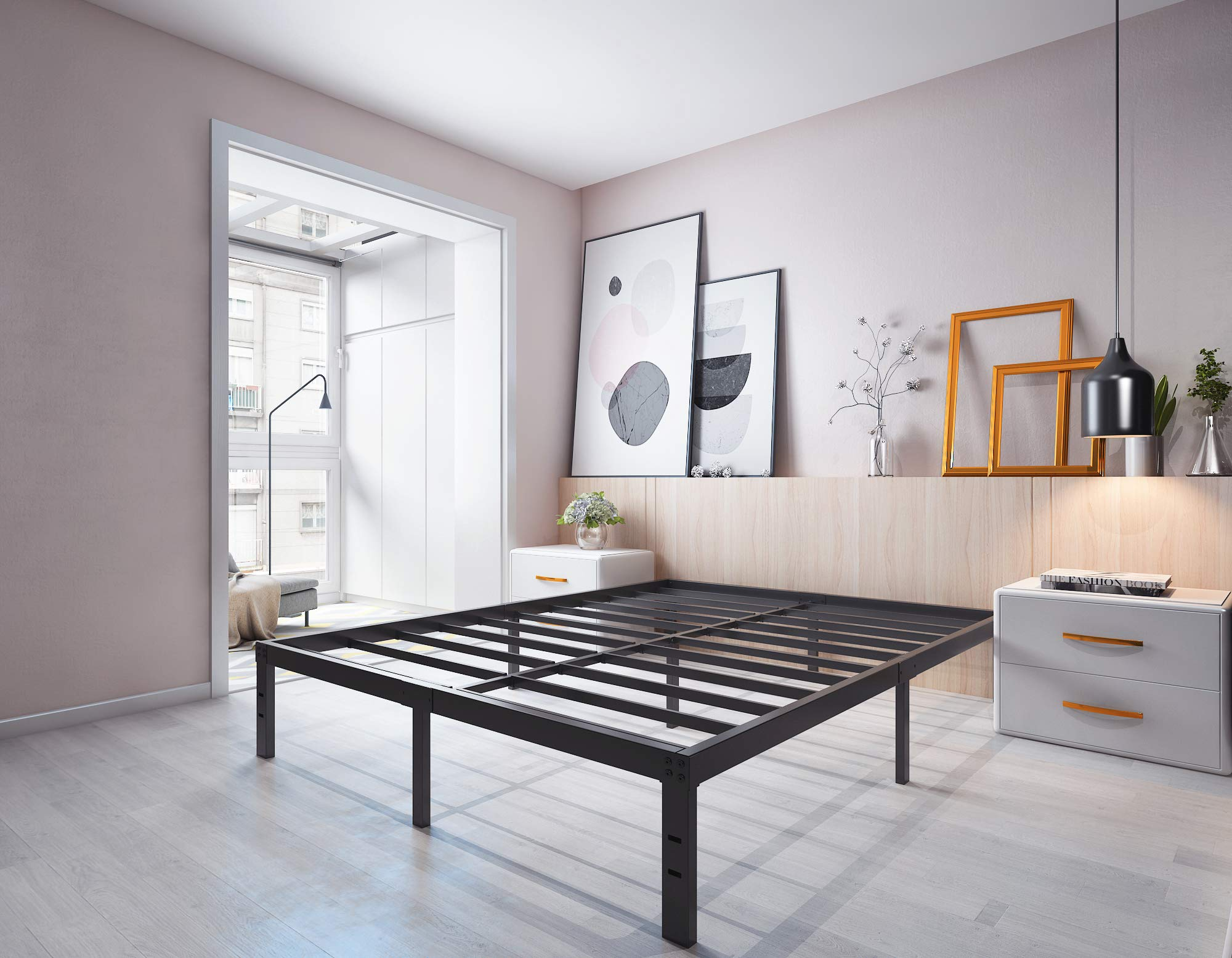 Homdock 14 Inch Metal Platform Bed Frame/Sturdy Strong Steel Structure 3000 lbs Heavy Duty/Noise Free/None Slip Mattress Foundation/No Box Spring Needed/Black Finish, King
