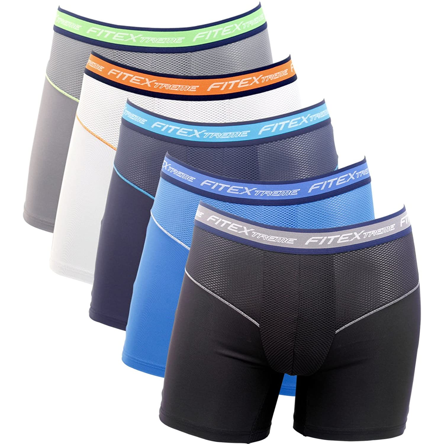Mansbasic FITEXTREME Mens 3 to 5 Pack Cool Sporty Performance Stretch Fashion Boxer Briefs